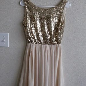 Alythea Gold and Cream Dress with Sequins